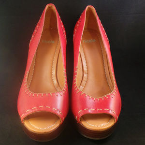 Nicole Red Leather Stitched Wedge Heels 8.5 Brazil